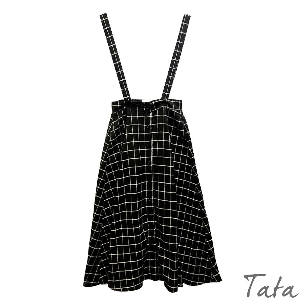 口袋格紋吊帶裙 TATA-F