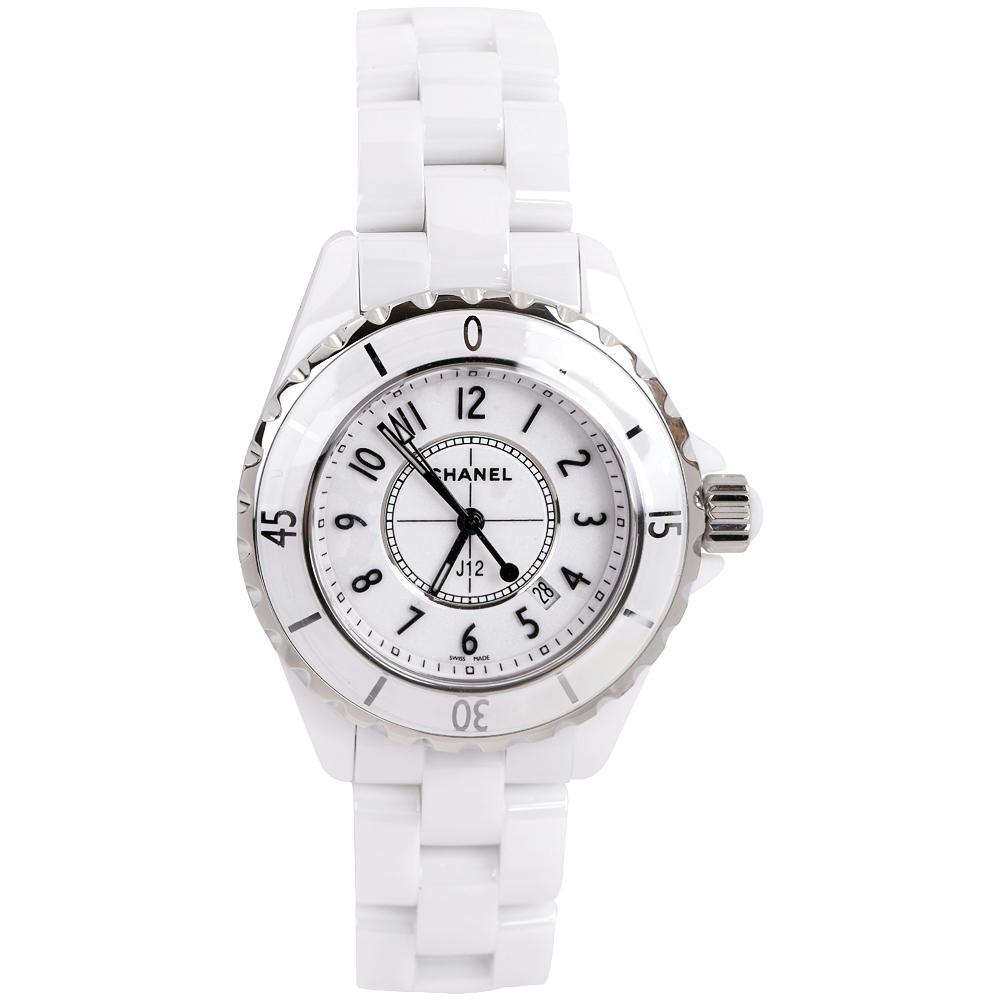 size 40 2f1ce c9da4 CHANEL J12 H0968 白色精密陶瓷精鋼腕錶-33mm | 手錶 | Yahoo奇摩購物中心