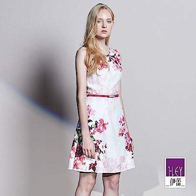 ILEY伊蕾 質感嫩桃緹織條紋印花洋裝(白)
