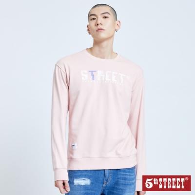 5th STREET 馬賽克印花 厚長袖T恤-男-粉紅
