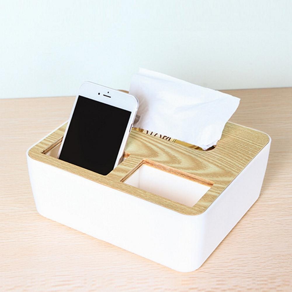 E-dot 文青風木紋質感多功能收納面紙盒
