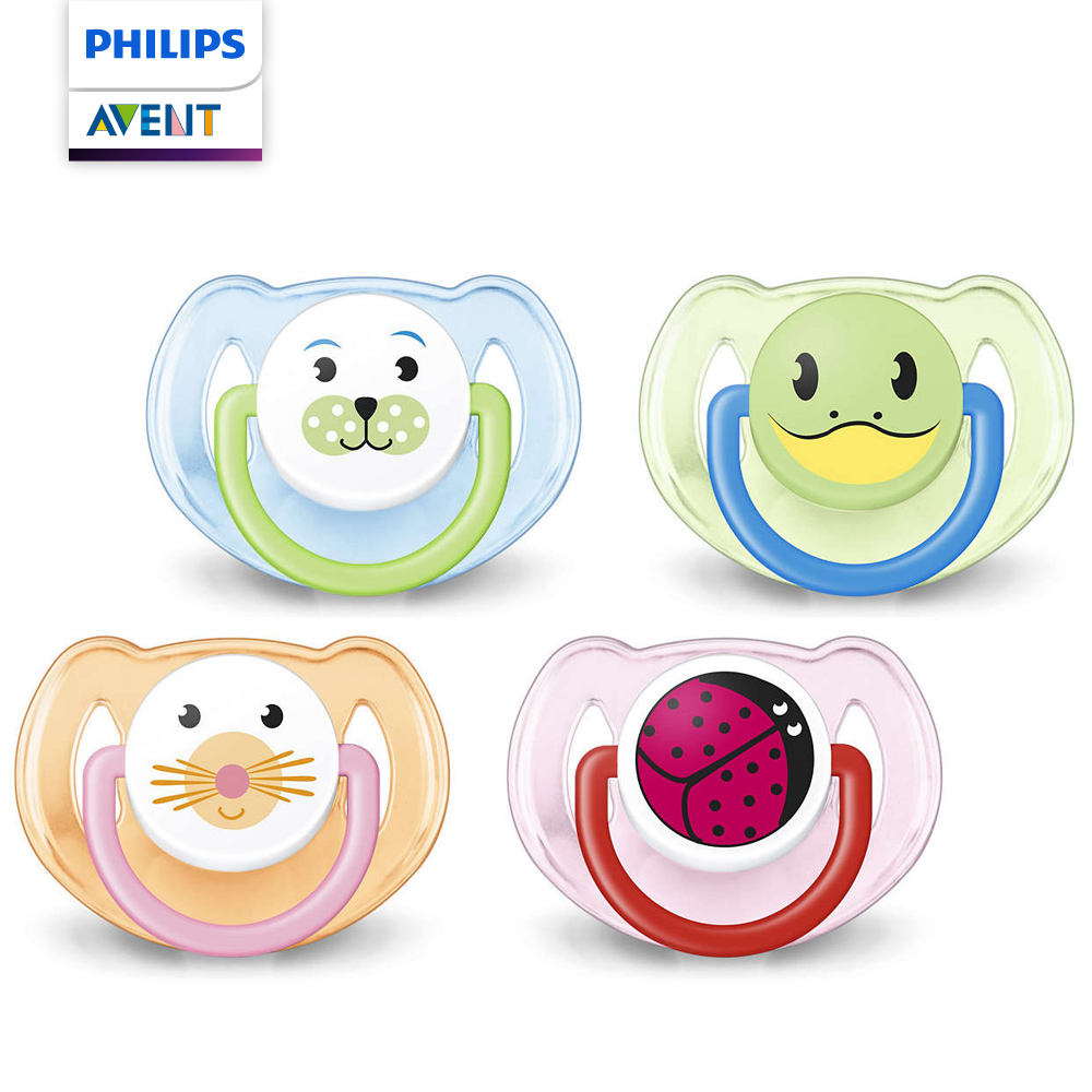 PHILIPS AVENT矽膠卡通系列 安撫奶嘴6~18M+藍綠/橘粉 SCF182/24