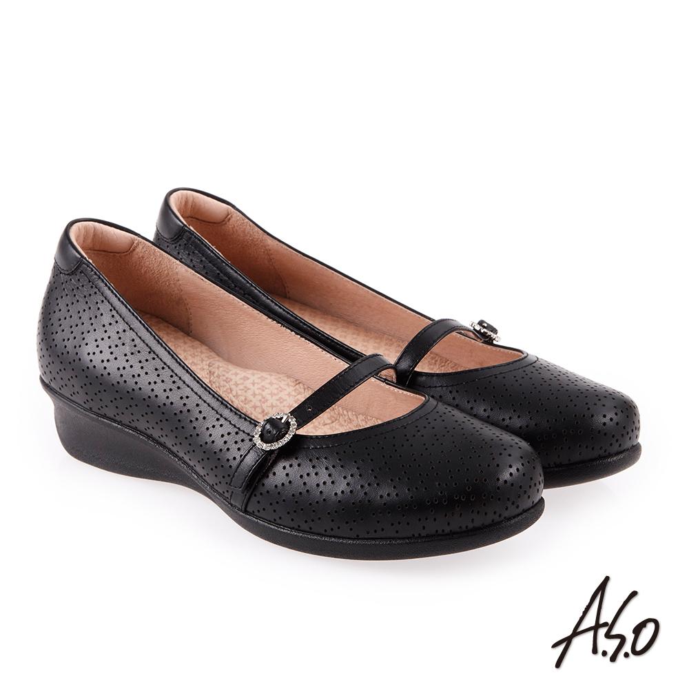 A.S.O 舒適典雅 全真皮圓楦休閒氣墊鞋 黑