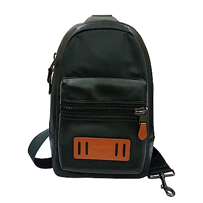 COACH 壓印字母LOGO造型拉鍊透氣背墊雙側單肩斜背胸掛包(黑)