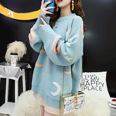 La Belleza星星絨毛月亮圖印圓領落肩針織毛衣