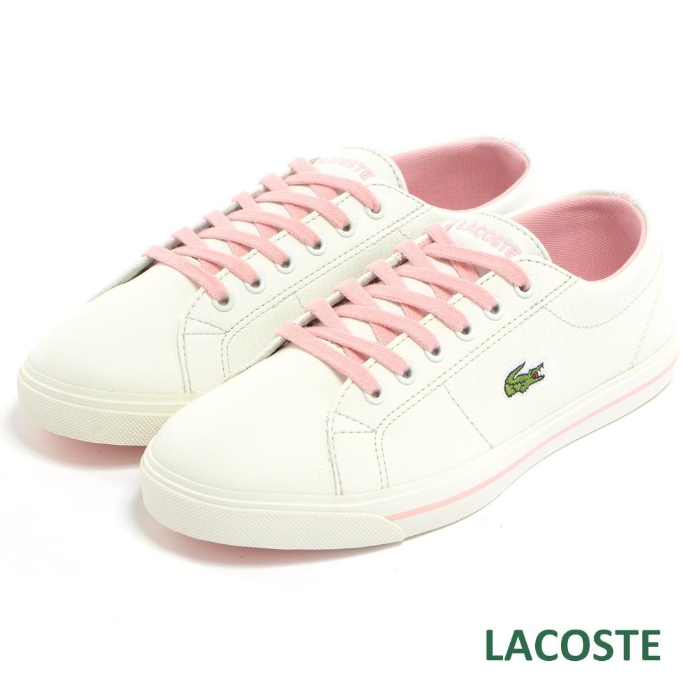 LACOSTE 女用休閒帆布鞋-白/粉