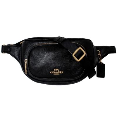 COACH 金屬馬車LOGO荔枝紋皮革小口袋斜背腰包(黑)