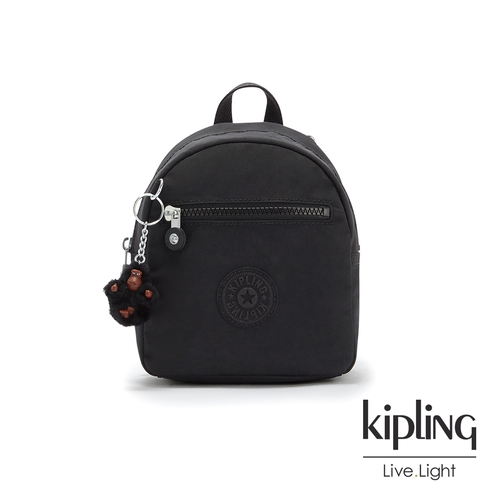 Kipling 質感黑簡約時尚拉鍊後背包-WINNIFRED