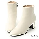 D+AF 極簡潮流.素面方頭美型中跟短靴*白