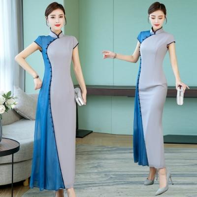中式復古優雅立領雙色拼接改良旗袍M-4XL-REKO