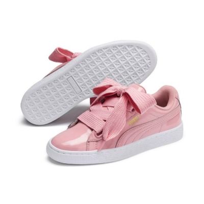 PUMA-Basket Heart Patent女性復古籃球運動鞋-新娘玫瑰
