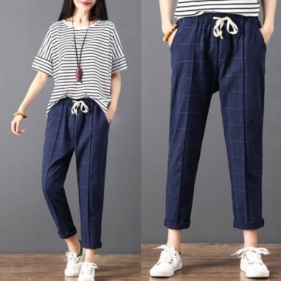 【韓國K.W.】(現貨)亞麻涼感細格紋褲-3色
