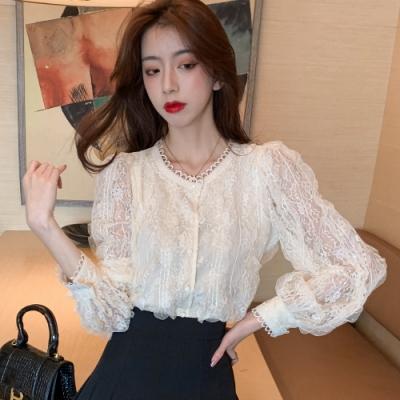 時尚透袖立體蕾絲鏤空上衣S-XL(共二色)-白色戀人