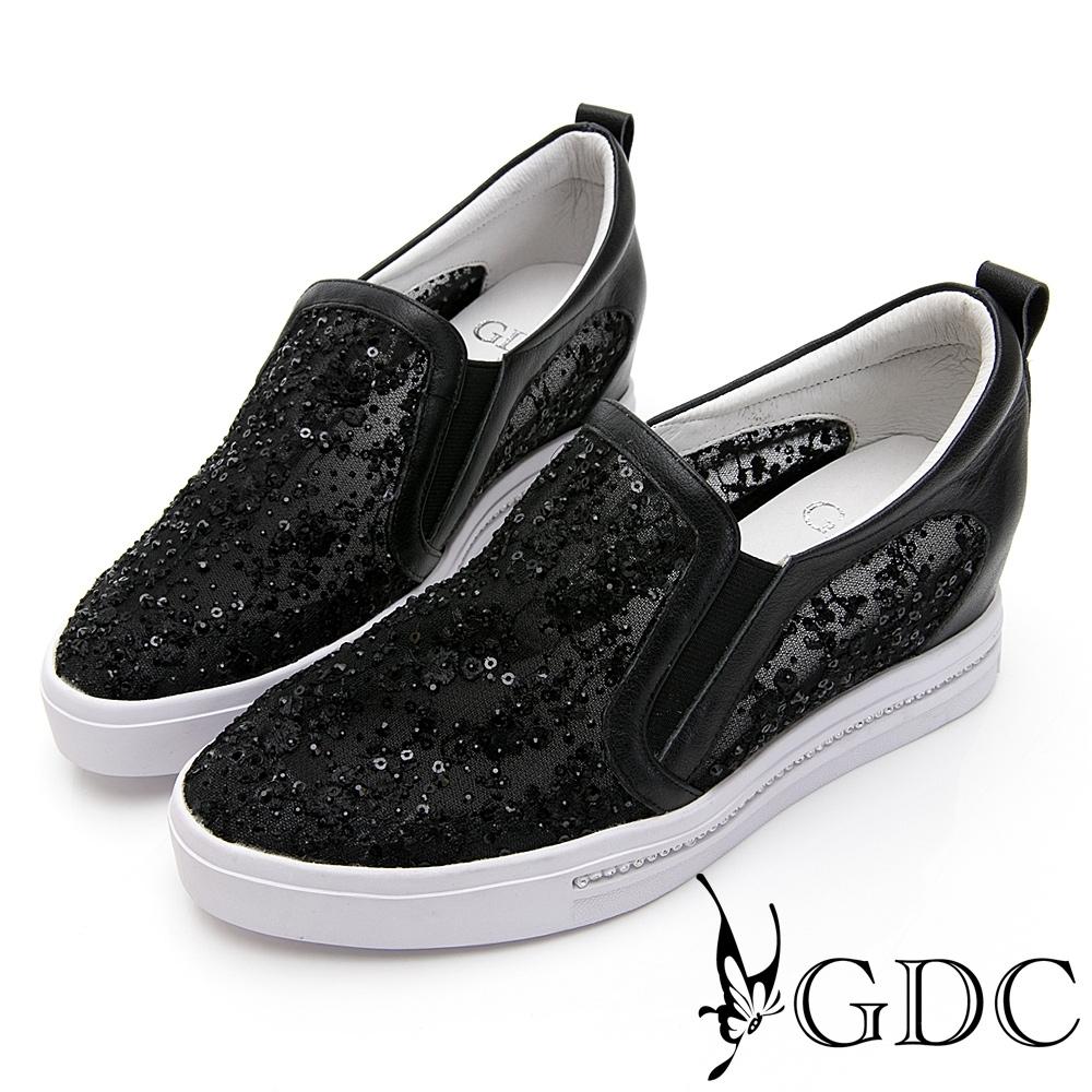 GDC-夢幻碎花水鑽蕾絲透膚春夏厚底休閒鞋-黑色