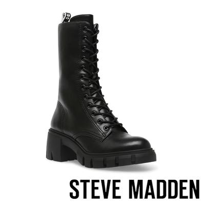 STEVE MADDEN-HIGHLAND 綁帶厚底高筒軍靴-黑色