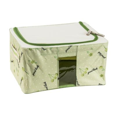 樂嫚妮 11L防潑水單視窗文件桌面收納箱/折疊收納箱-綠-30X24X15cm