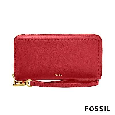 FOSSIL LOGAN 真皮系列拉鍊零錢袋長夾-紅色
