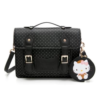 Hello Kitty聯名- 劍橋包 Preppy Style / 復古學院-黑色