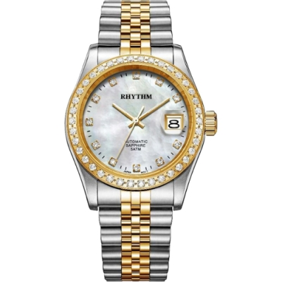 RHYTHM日本麗聲 尊爵晶鑽機械珍珠貝手錶-38mm RA1627S03