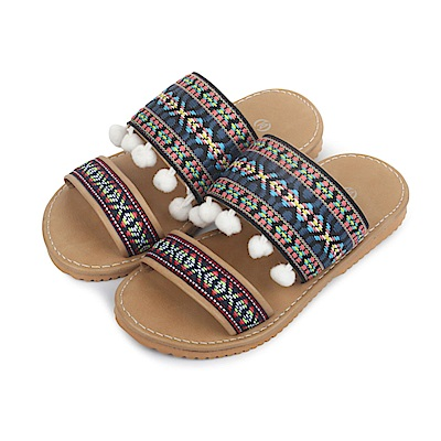 BuyGlasses 民族風格兒童款拖鞋-藍