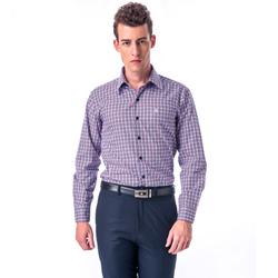 金‧安德森 白底藍紅格紋相間窄版長袖襯衫