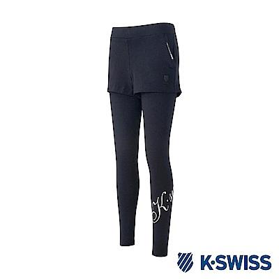 K-Swiss Leggings女運動緊身褲-女-黑