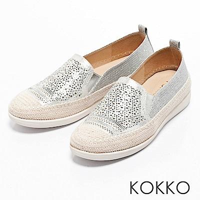 KOKKO - 輕奢幾何雕花麻繩平底休閒鞋-璀璨銀