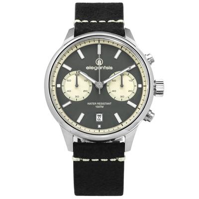 elegantsis 復刻回憶藍寶石水晶玻璃計時日期防水真皮手錶-灰x黑/43mm