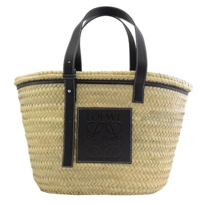 LOEWE Basket 皮革大LOGO時尚草編包(黑邊/大)