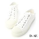 D+AF 青春年代.異材質拼接帆布休閒鞋*白