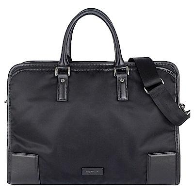 agnes b. voyage 黑色尼龍皮革提把飾邊雙拉鍊提背公事包