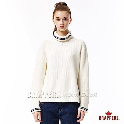 BRAPPERS 女款 坑條高領長袖毛衣-米白