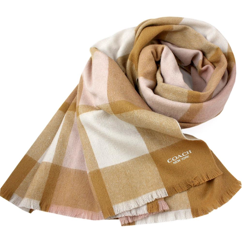COACH 經典LOGO格紋拼接色羊毛羊絨寬版圍巾-駝色COACH