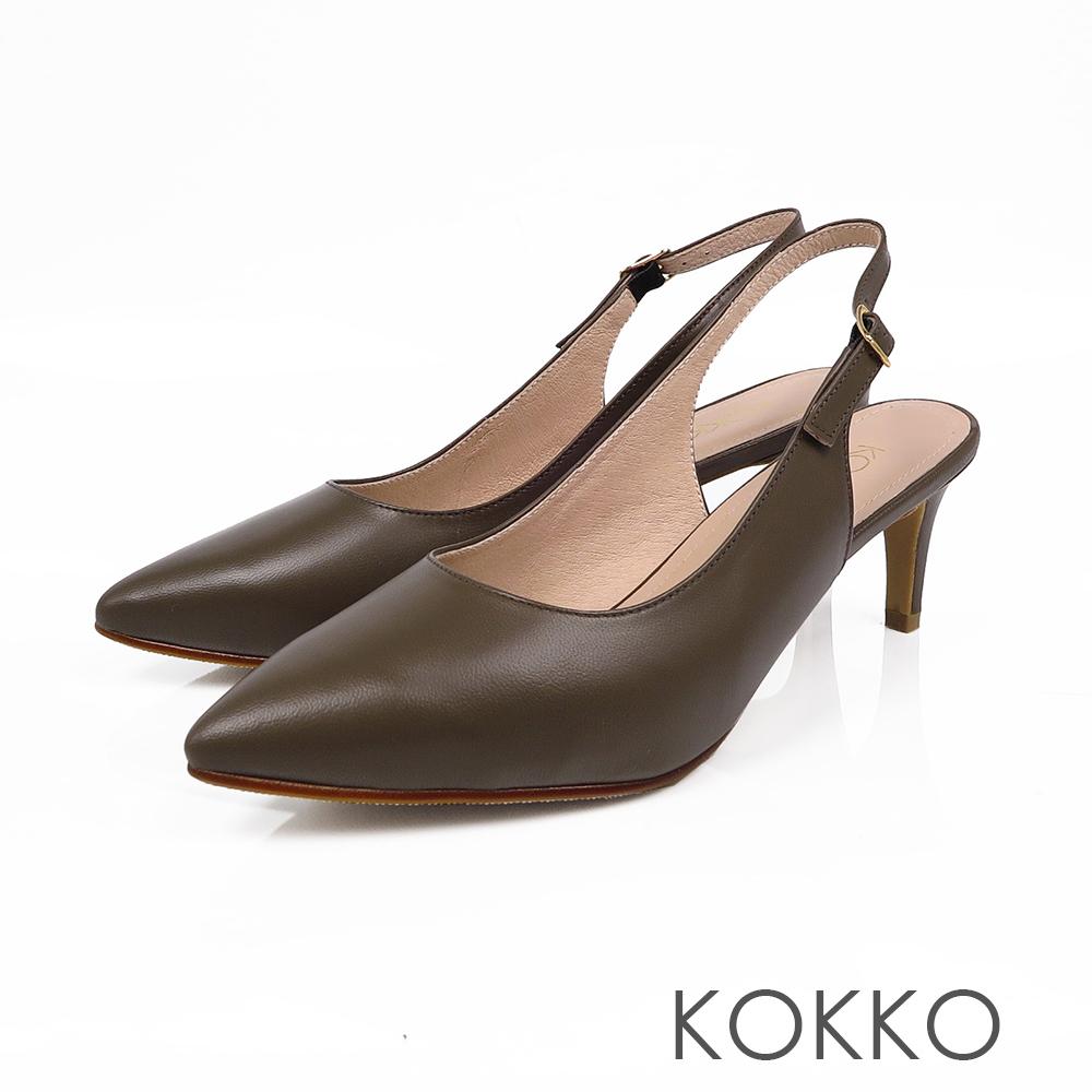 KOKKO - 花開燦爛後拉帶純色尖頭高跟鞋-苔蘚綠