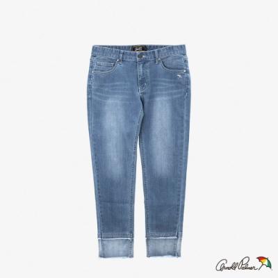 Arnold Palmer-女裝-褲口拼接洗色牛仔褲-淺藍