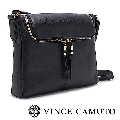 VINCE CAMUTO 牛皮方形拉鍊側背包-黑色