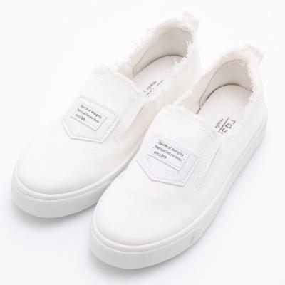 River&Moon街頭率性單寧抽鬚懶人厚底休閒鞋 白