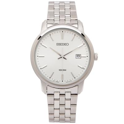 SEIKO  銀色光芒錶盤設計款男性手錶 (SUR257P1)-銀面X銀色/42mm