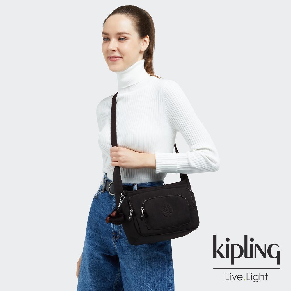 Kipling 極簡耀黑輕便實用多袋斜肩包-ERICA S