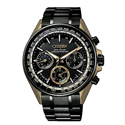 CITIZEN GPS黑金時尚衛星對時光動能鈦腕錶CC4004-66E