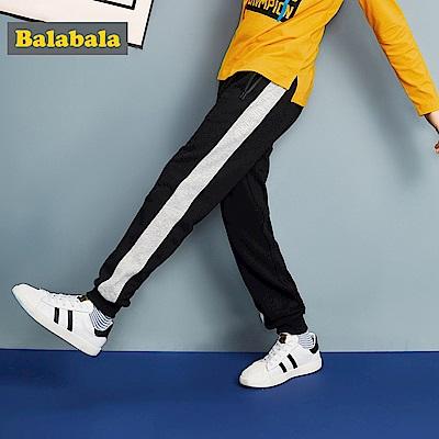 Balabala巴拉巴拉-側邊線條英文標語休閒褲-男(2色)