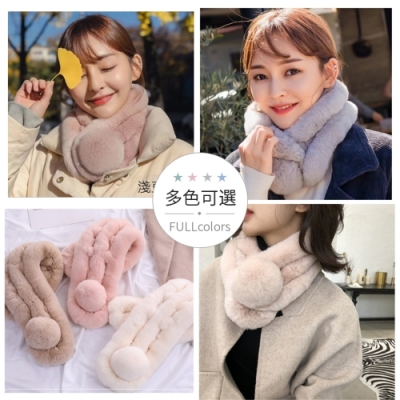 [時時樂] 梨花抗寒流.三管獺兔毛毛球圍脖脖圍及牛奶襪限時購