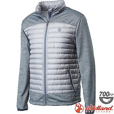 Wildland 荒野 0A62992-23銀灰色 男彈性針織拼接羽絨外套