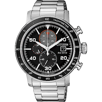 CITIZEN 星辰 光動能賽車計時碼錶(CA0641-83E)-黑x銀/43mm