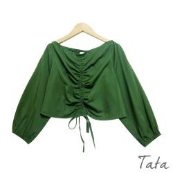 寬鬆綁帶抽繩短版上衣 共二色 TATA-(S~L)