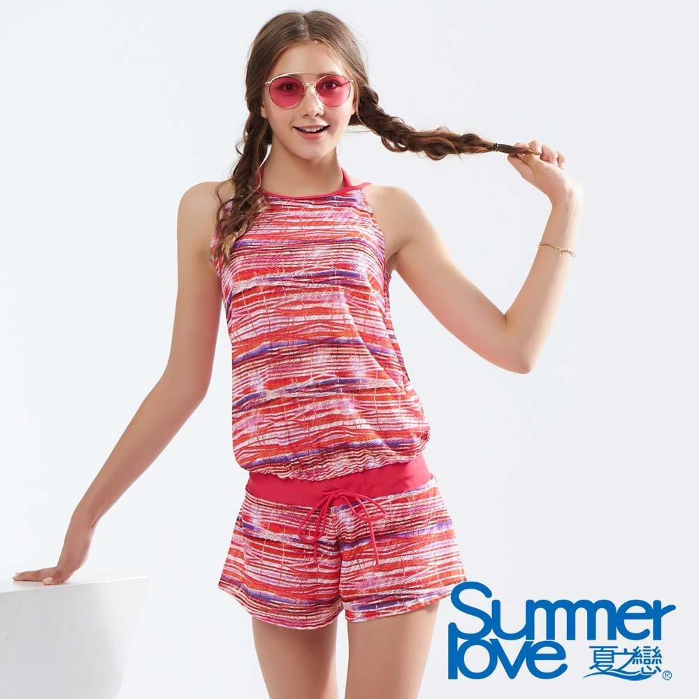 夏之戀SUMMERLOVE 亮彩大女連身褲三件式泳裝