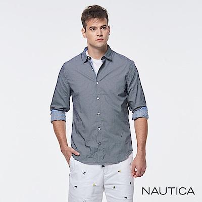Nautica型男百搭點點短袖襯衫-藍