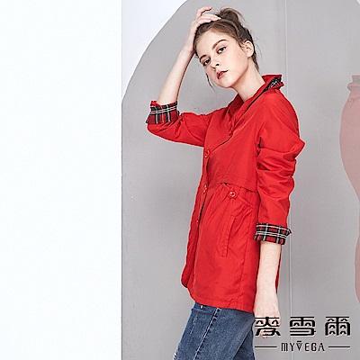 【麥雪爾】立體造型領格紋拼接風衣外套