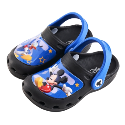 迪士尼童鞋 米奇 唐老鴨造型防水休閒拖鞋-黑