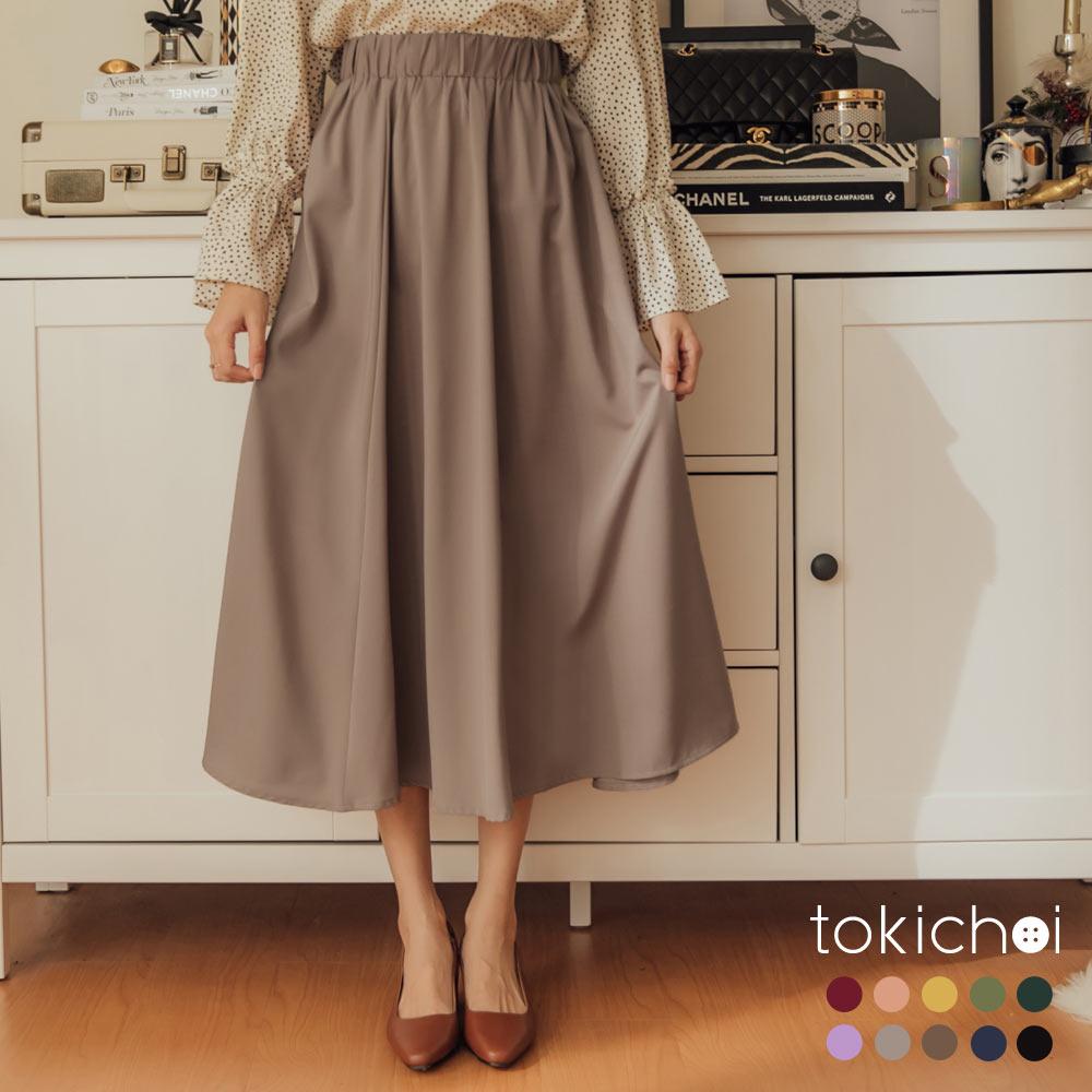 東京著衣 甜美加分多色簡約素面傘擺長裙-S.M.L.XL.XXL(共十色)